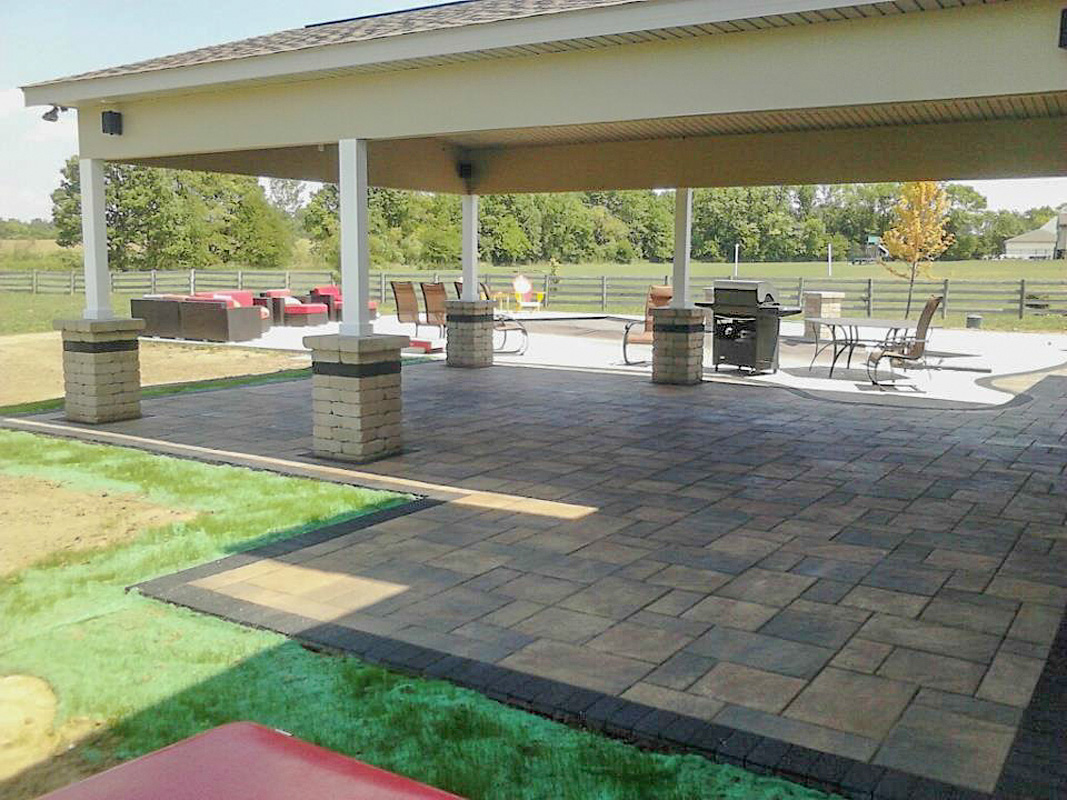 Landscape Design by Auman Landscape LLC. Installation in Lancaster, Ohio. Paver patio in Fairfield County Ohio. Landscaping to come. Paver Patio addition.