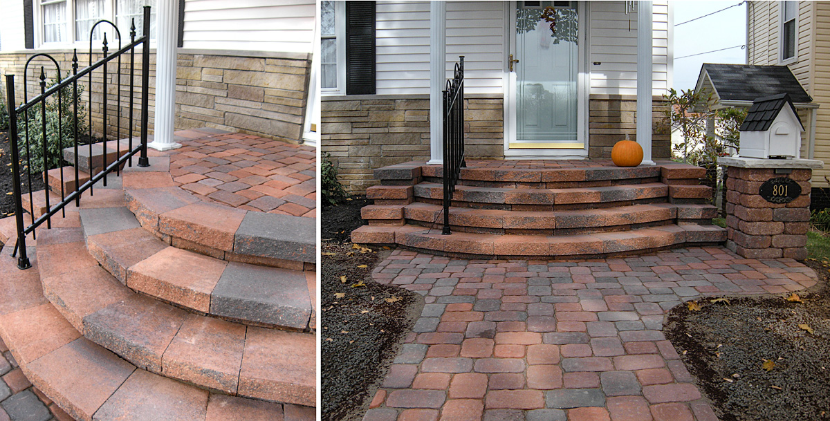 Landscape Design by Auman Landscape LLC. Installation in Lancaster, Ohio. Fairfield County Ohio. Paver Steps. Paver Walkway. Paver Instalaltion