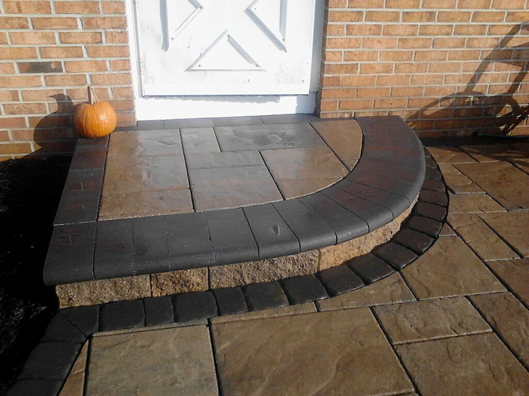 Landscape Design by Auman Landscape LLC. Unilock Paver. Paver Steps. Beacon Hill Paver Walkway